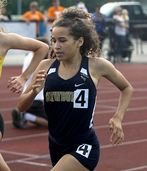 Photo provided by the Mid-Hudson Times. Newburgh's Amilia Wise-Sweat runs at the New York State Public High School Athletic Association championships at Middletown High School in 2019.