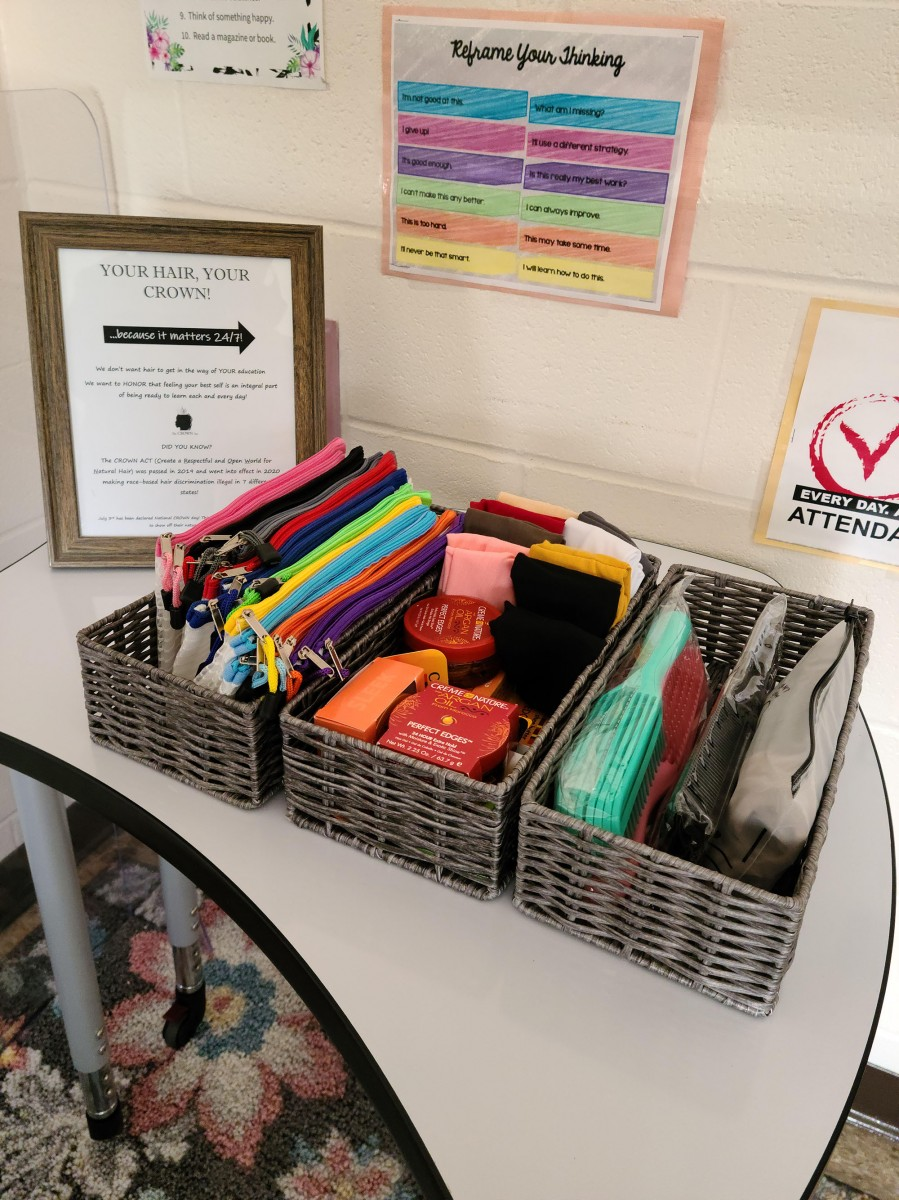Photo of baskets with items for scholars to use at the start of the day.