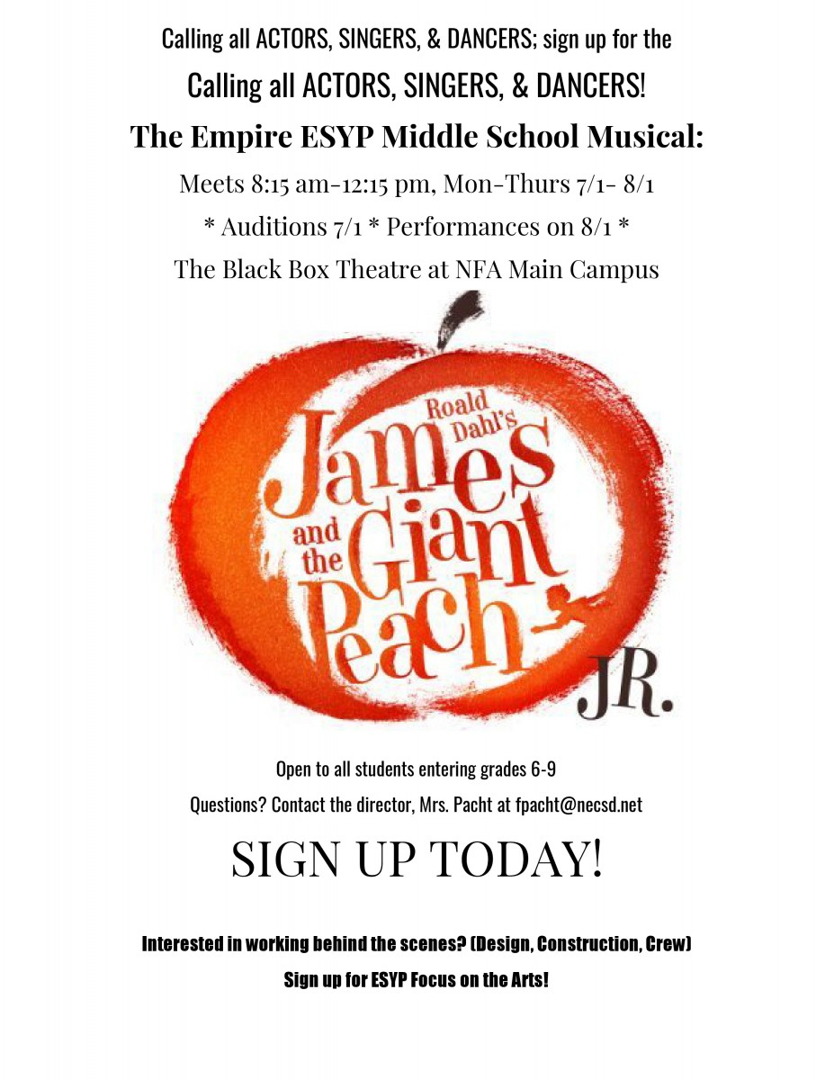 Thumbnail for ESYP Middle School Musical will be James and the Giant Peach, Jr.! Spaces Still Available.