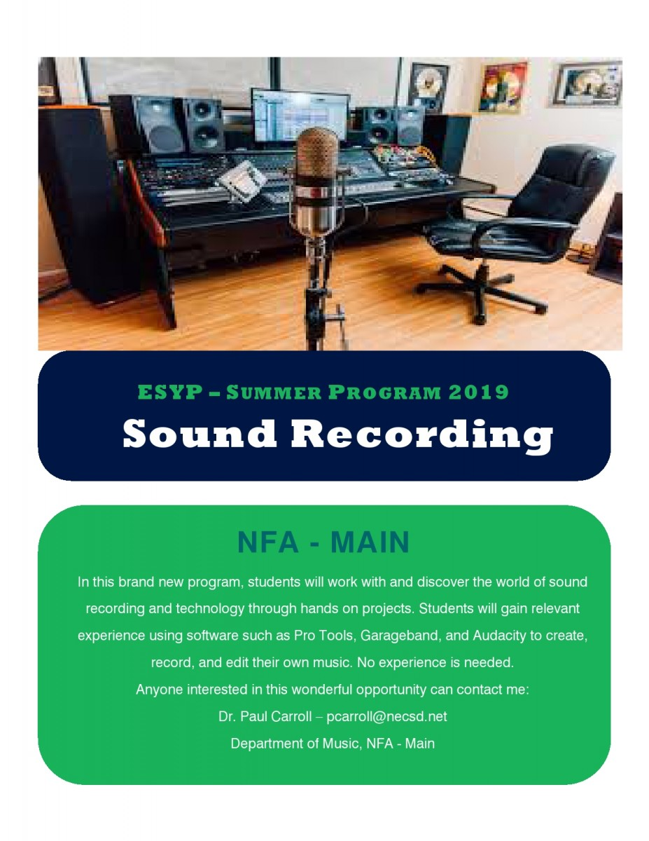 Thumbnail for Sound Recording Class is Available for ESYP 2019