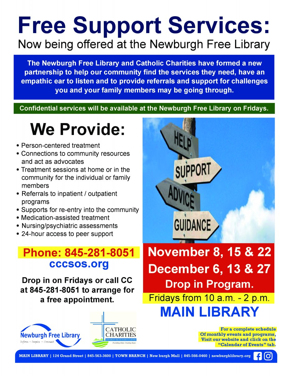 Thumbnail for Free Support Services: Now being offered at the Newburgh Free Library