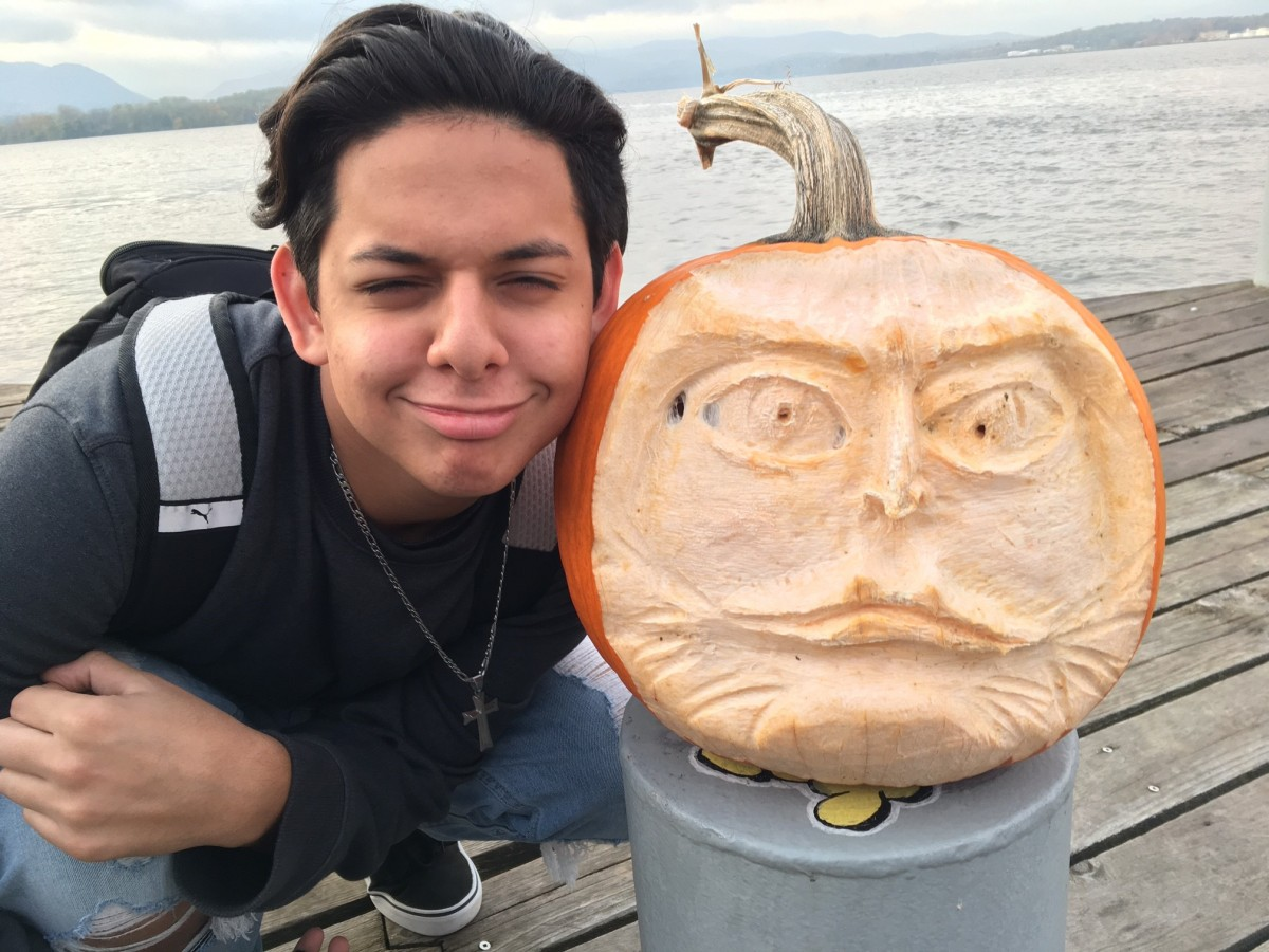 Chris Carbone with Pumpkin at Long Dock