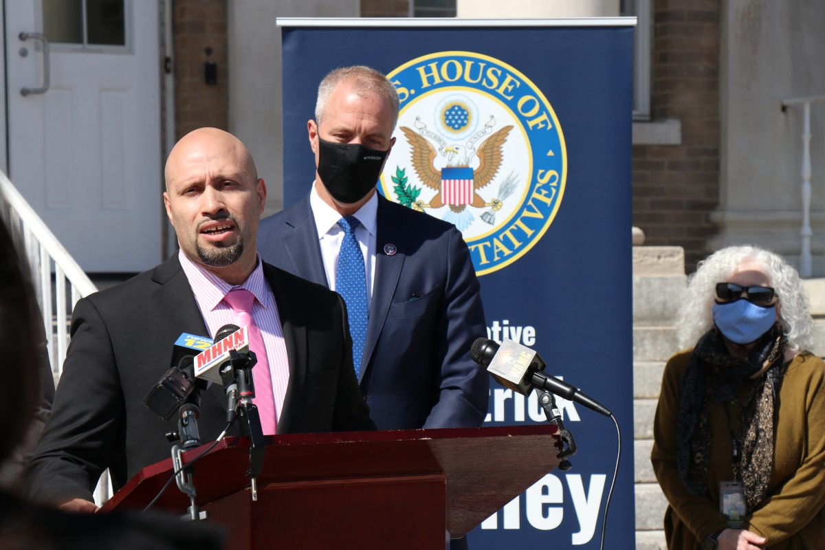 NECSD Superintendent, Dr. Roberto Padilla speaks about funding from the American Rescue Plan during a press conference held by Congressman Sean Patrick Maloney.