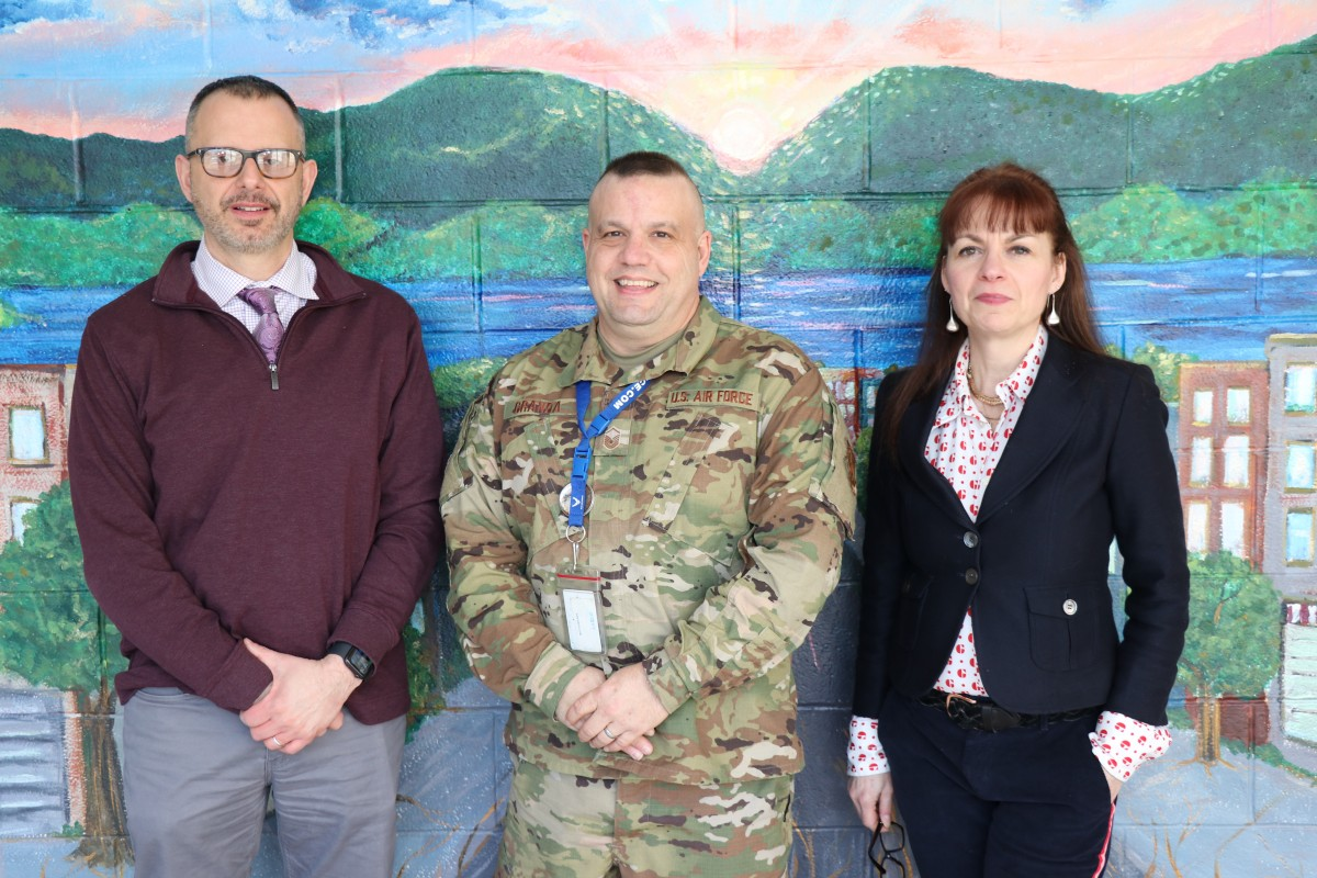 Mrs. Thomas-Cappello and her colleagues Mr. John Etri and Master Sergeant Granda prepare to attend the JROTC-CS Demonstration Project.