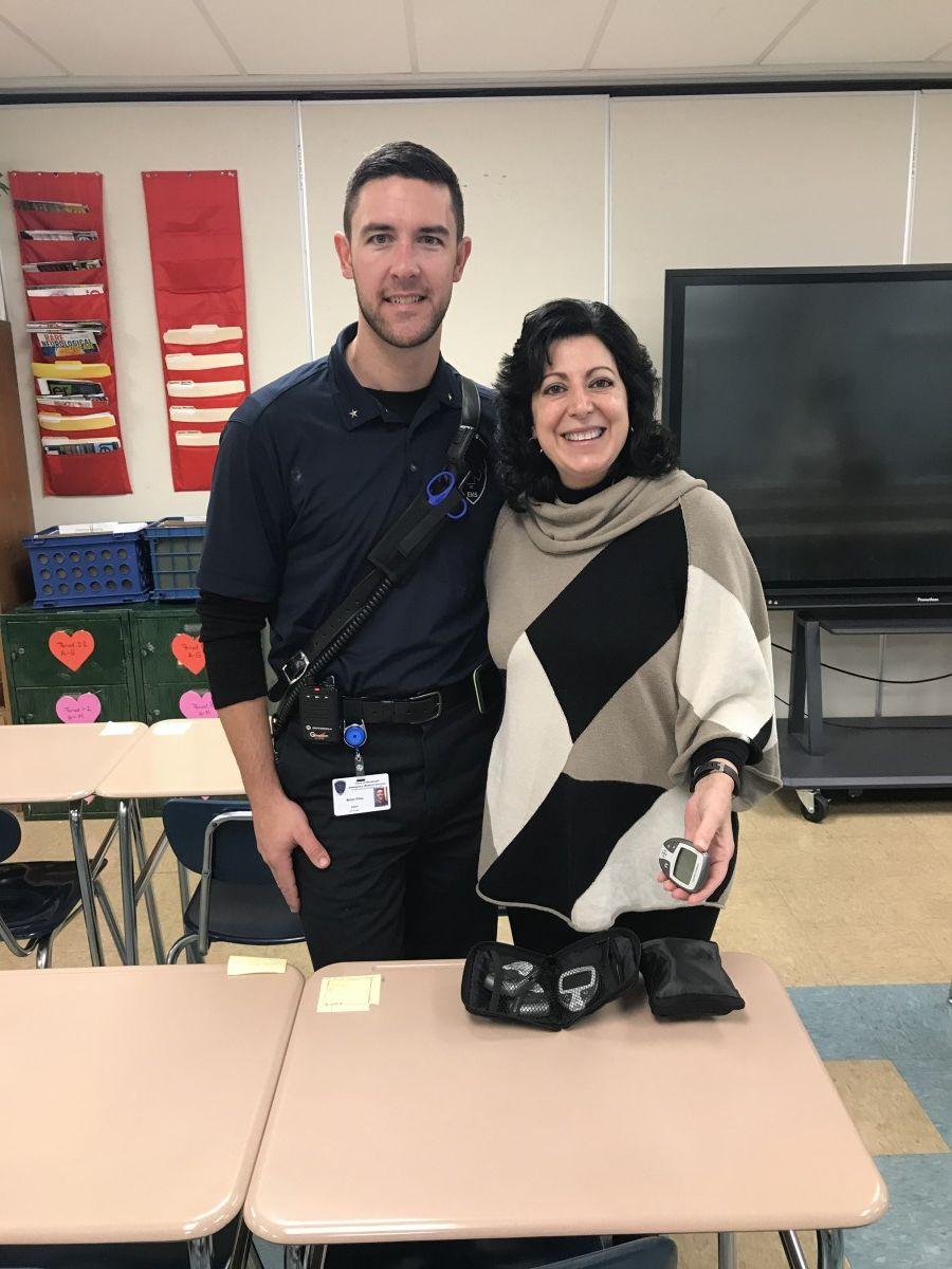 Representative from Town of Newburgh EMS, teacher Mrs. Linda Romano.