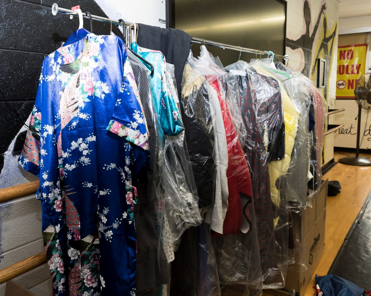 Costumes on the rack.