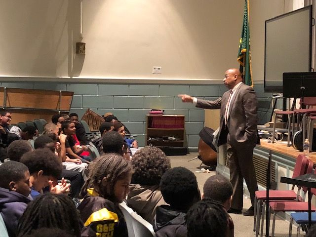 Principal Kafele speaking to scholars at South Middle School.