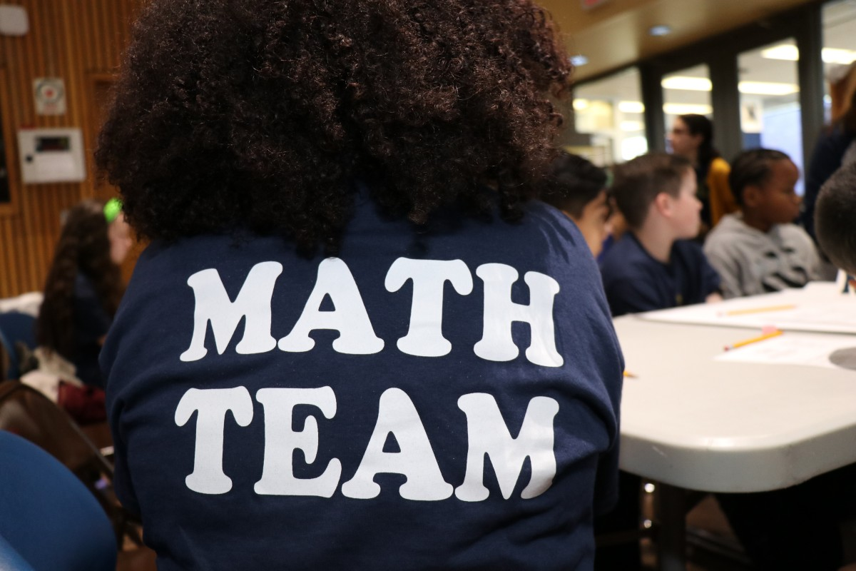Back of student shirt that reads: Math Team.