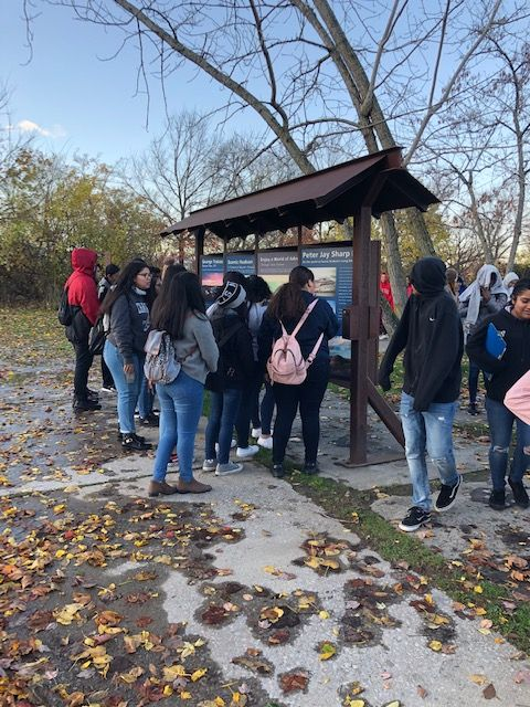 Students learn about Long Dock Park.