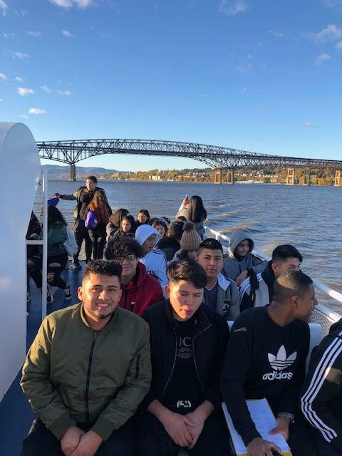 Students riding the ferry.
