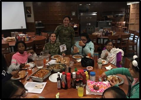 MHS girls and faculty experienced cadet dining by eating lunch in the mess hall.