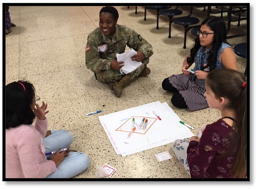 Cadet Teasia Stewart facilitated her first group with Fireworks!, guiding the girls into a meaningful discussion about confidence.