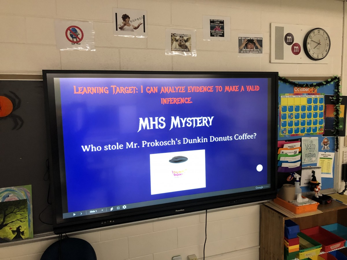 Promethean board displaying part of the lesson.