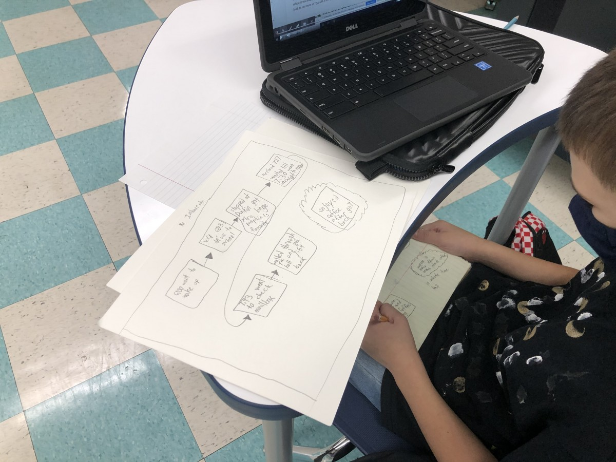 Student reviewing information to solve the mystery.
