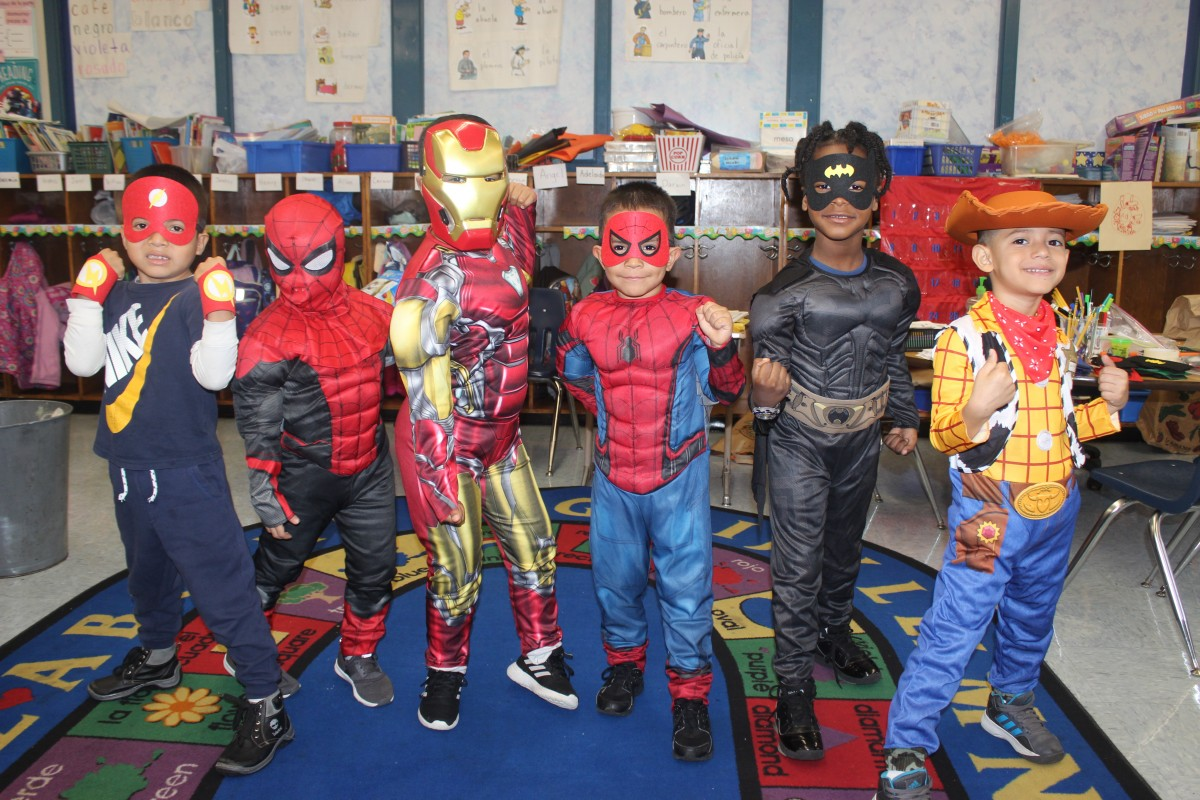 Students pose in their costumes.