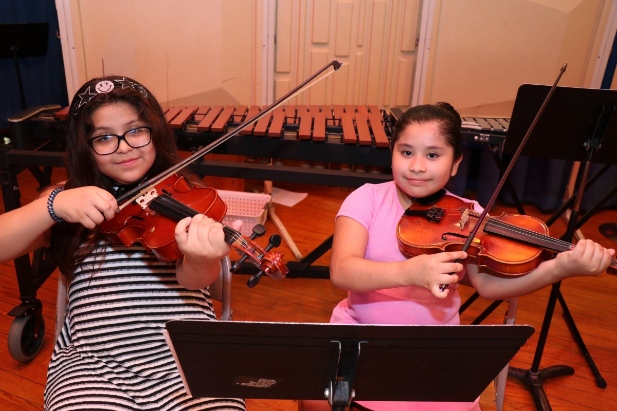 Students pose with their instruments.