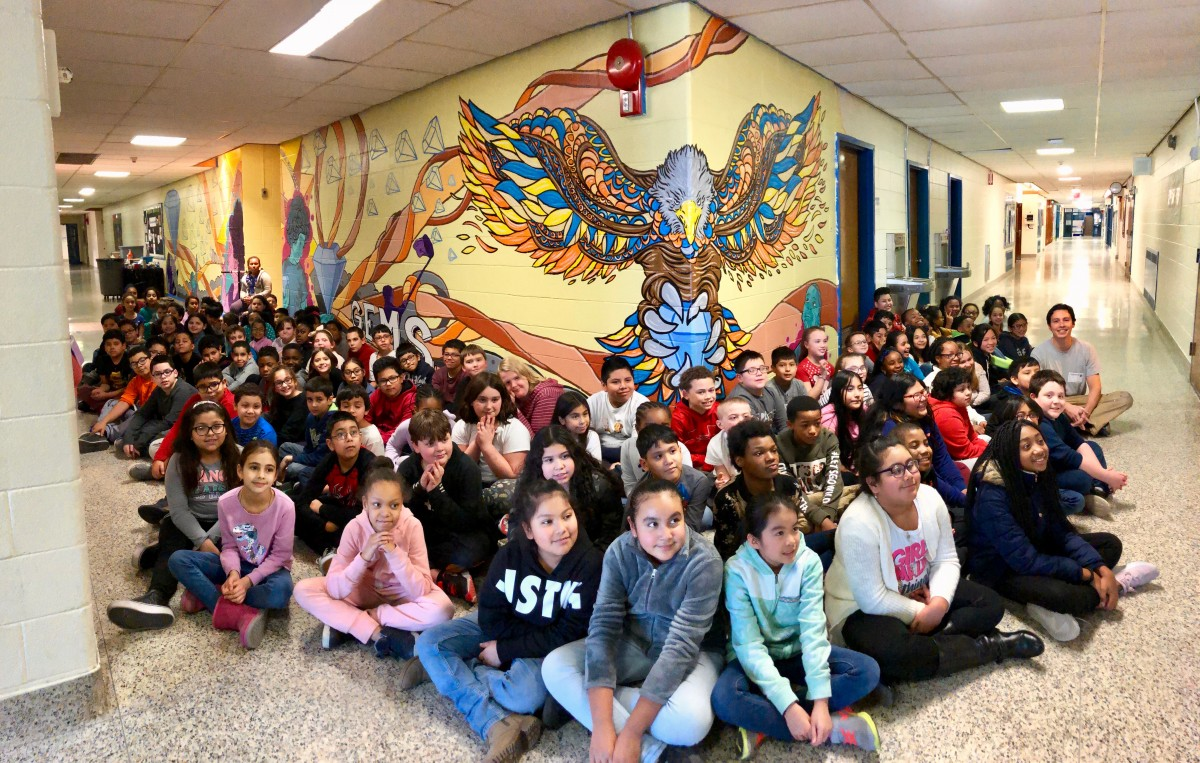 Thumbnail for Meadow Hill School Scholars Paint Colorful Mural with Local Artist and School Alum