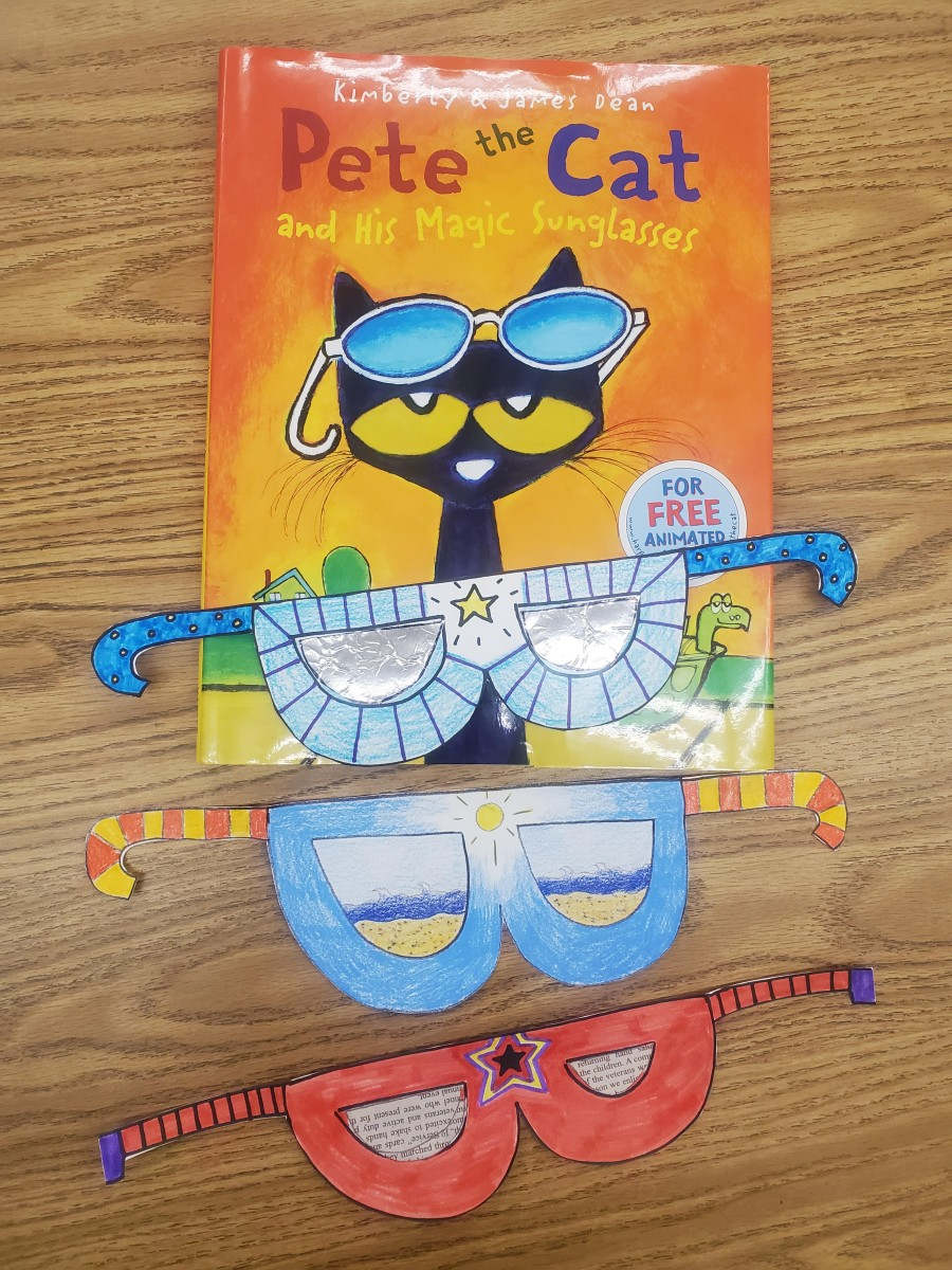 The book Pete the Cat and several examples of hand made