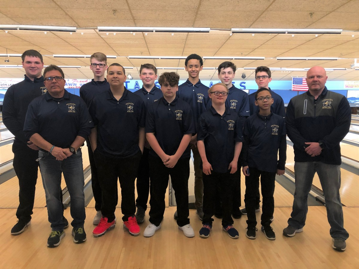 The NFA Boys Varsity Bowling Team poses for a photo.
