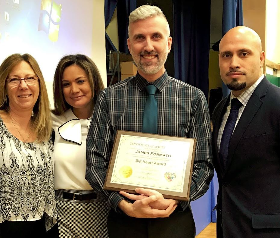 From left to right: Assistant Principal, Ms. Lamarche, Principal, Dr. Spindler, Mr. Formato, & Superintendent of Schools, Dr. Padilla.