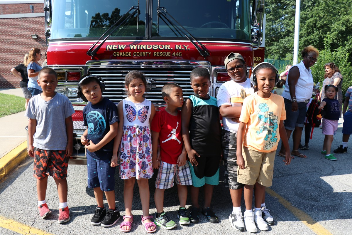 Students in front of the fire truck.