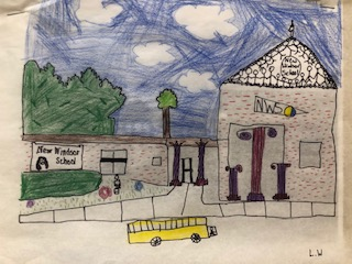 Photo of redesigned rendering of elementary school with imagined Greek Architecture by South Middle School Scholar.