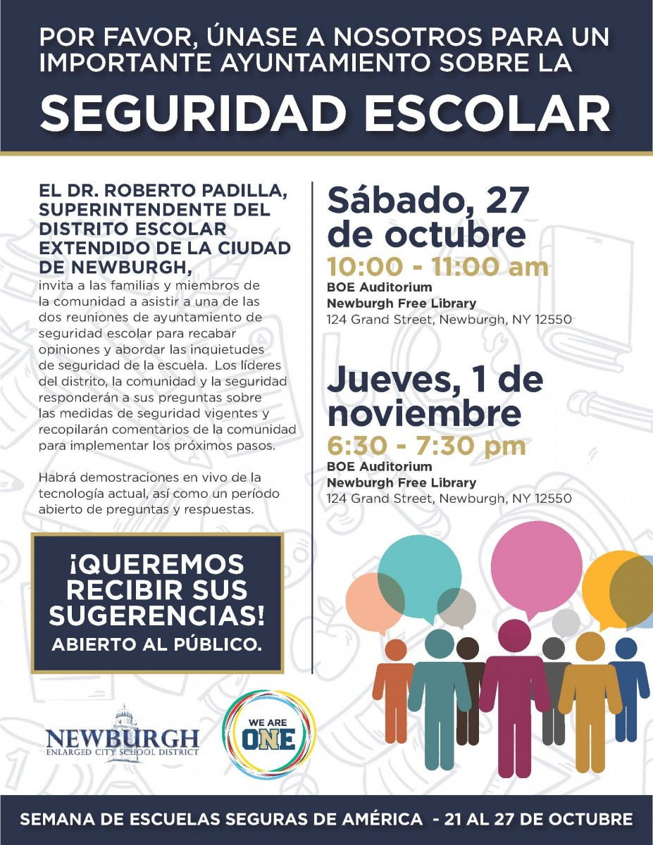 School Safety Town Hall Flyer Spanish