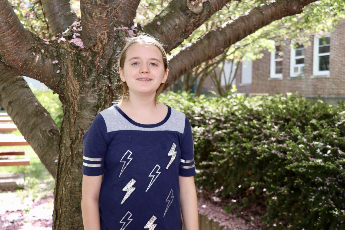 "Kayla Pelsue, 6th grade, Student Government ""Going outside more and being able to go outside for lunch. I also really like the flowers that blossom in the spring!"""