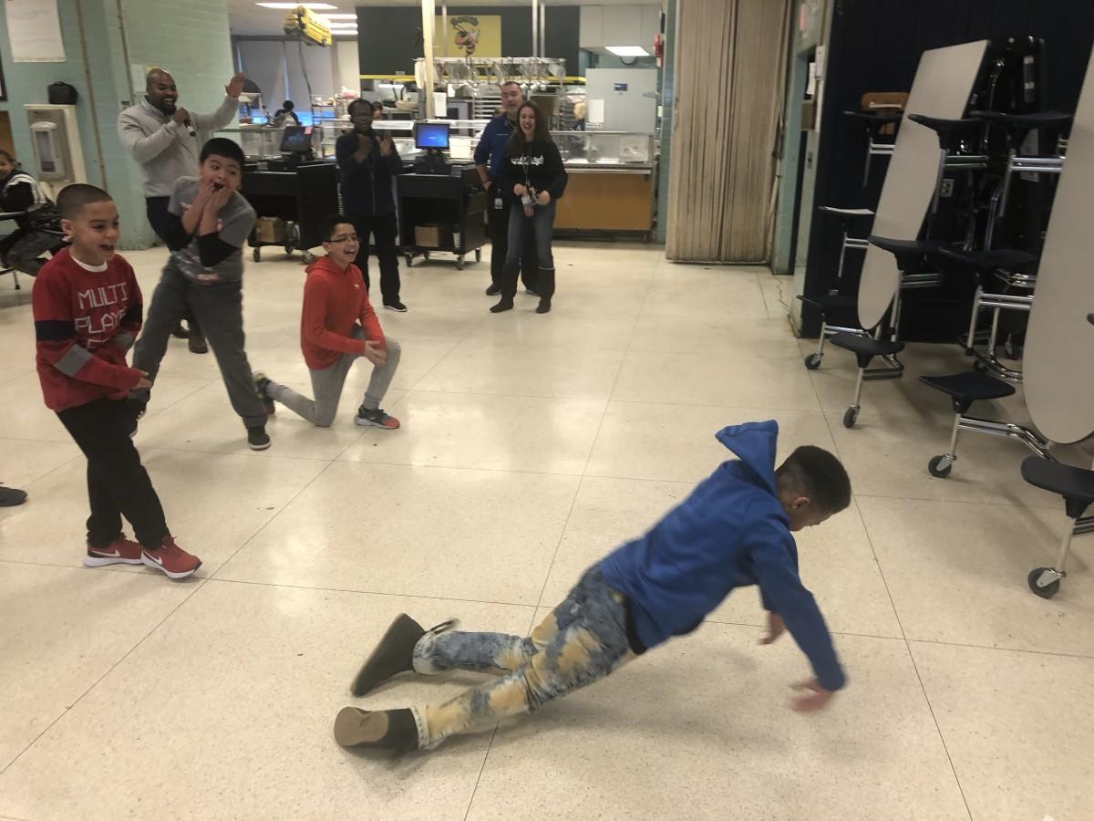 Students dancing.