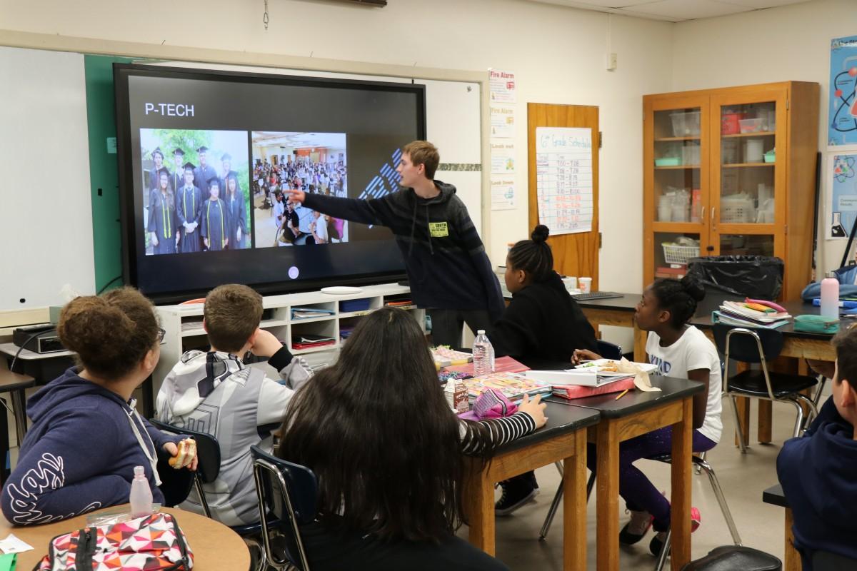 Co-Valedictorian speaks to students.