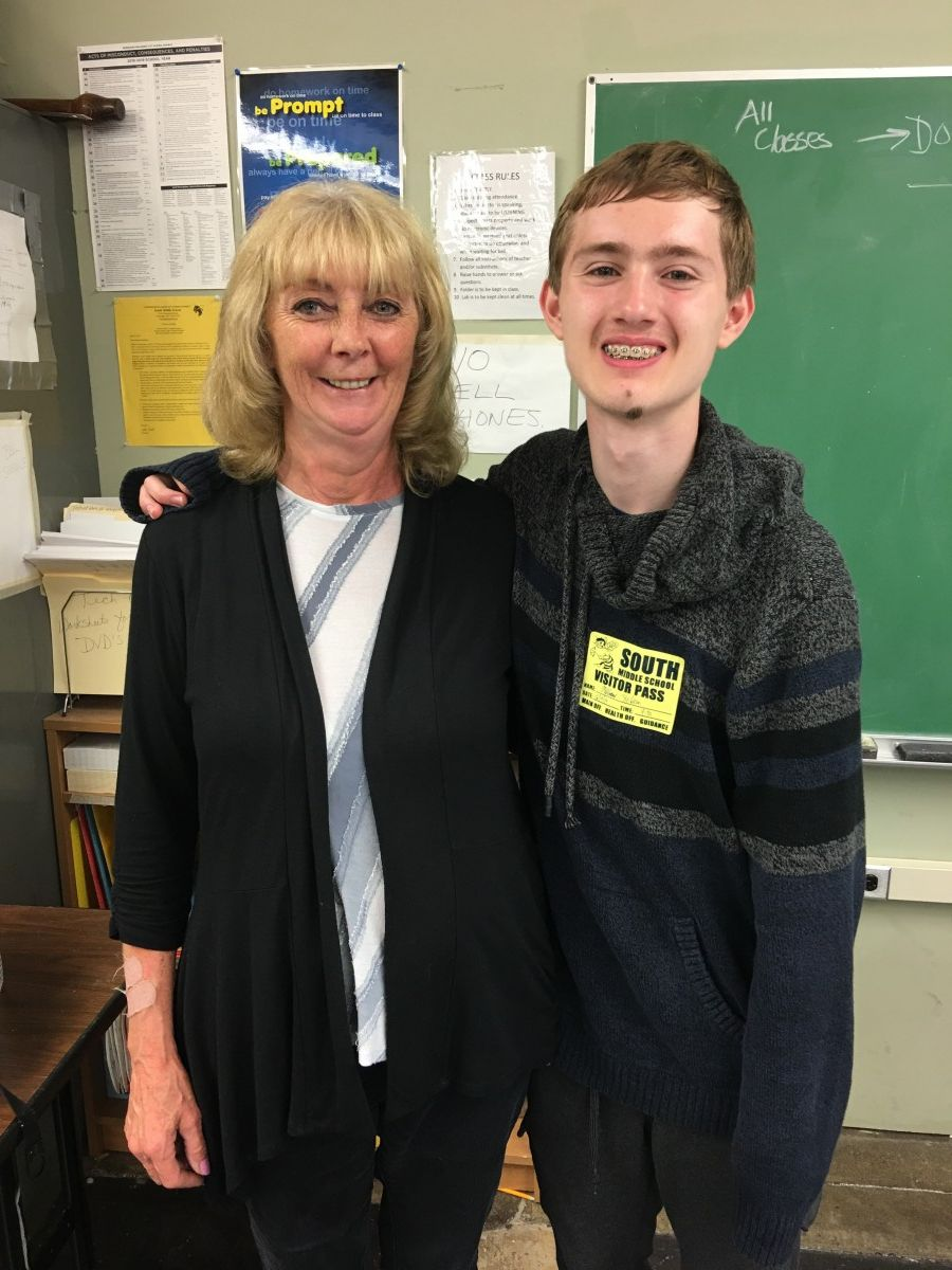 Matthew with Ms. Donohue.