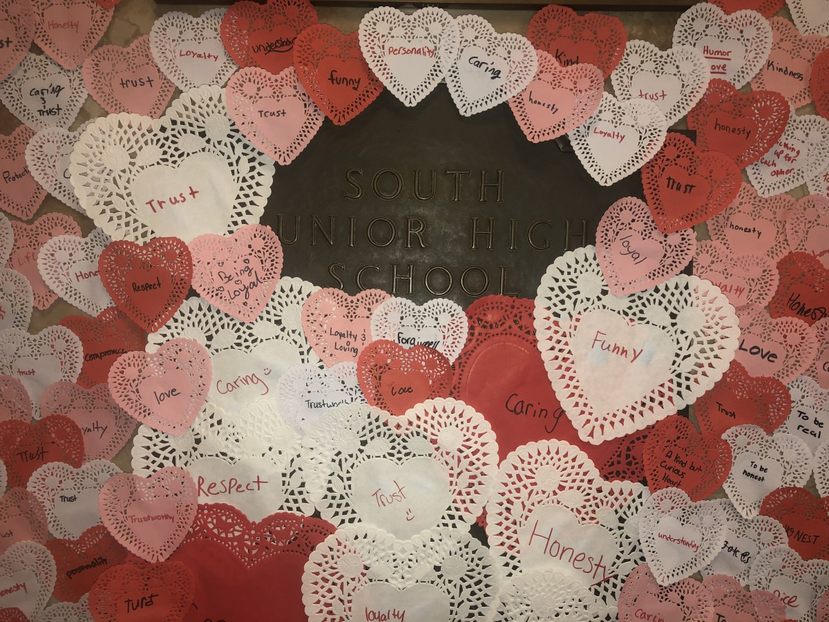 Display of hearts made by students.