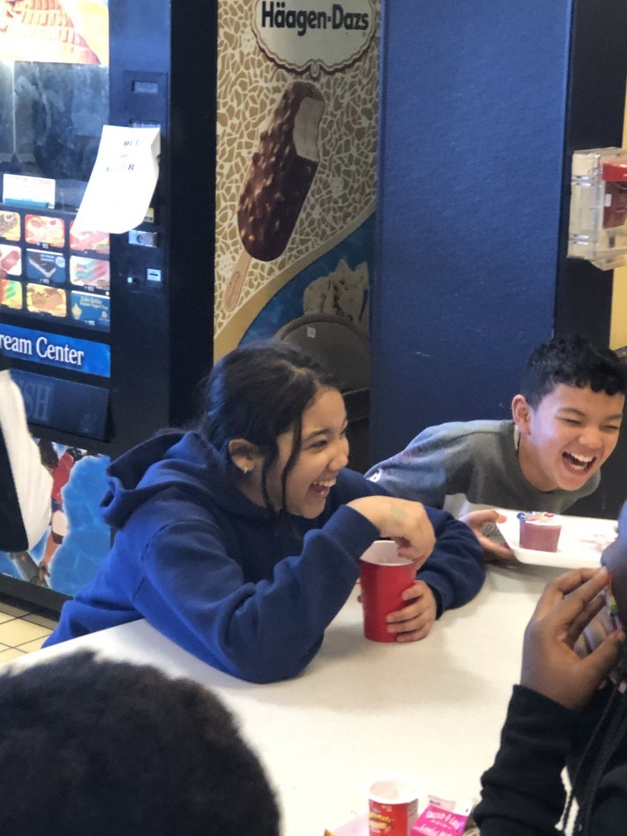 Students chatting during lunch.