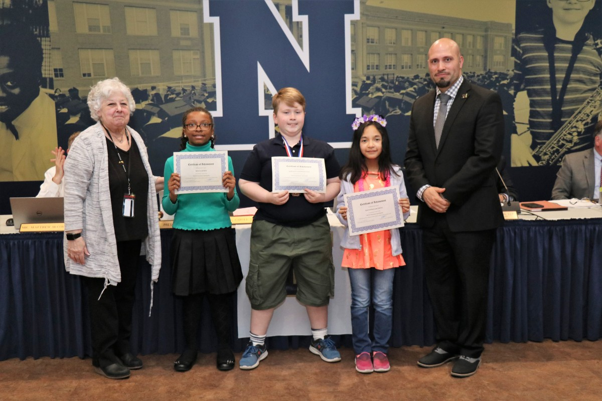 55c4f0a19bda0 These scholars were recognized at a Board of Education Meeting! Students  were announced by Ms. Jennifer Nilsen