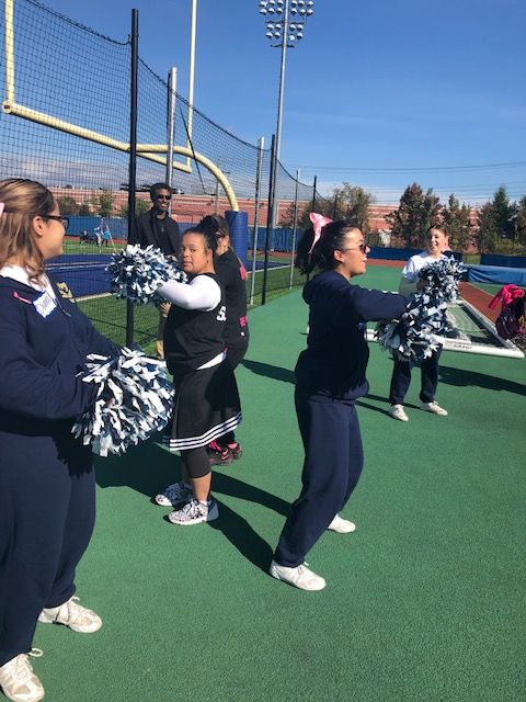 NFA cheerleaders and Beautiful People cheerleaders practice together.