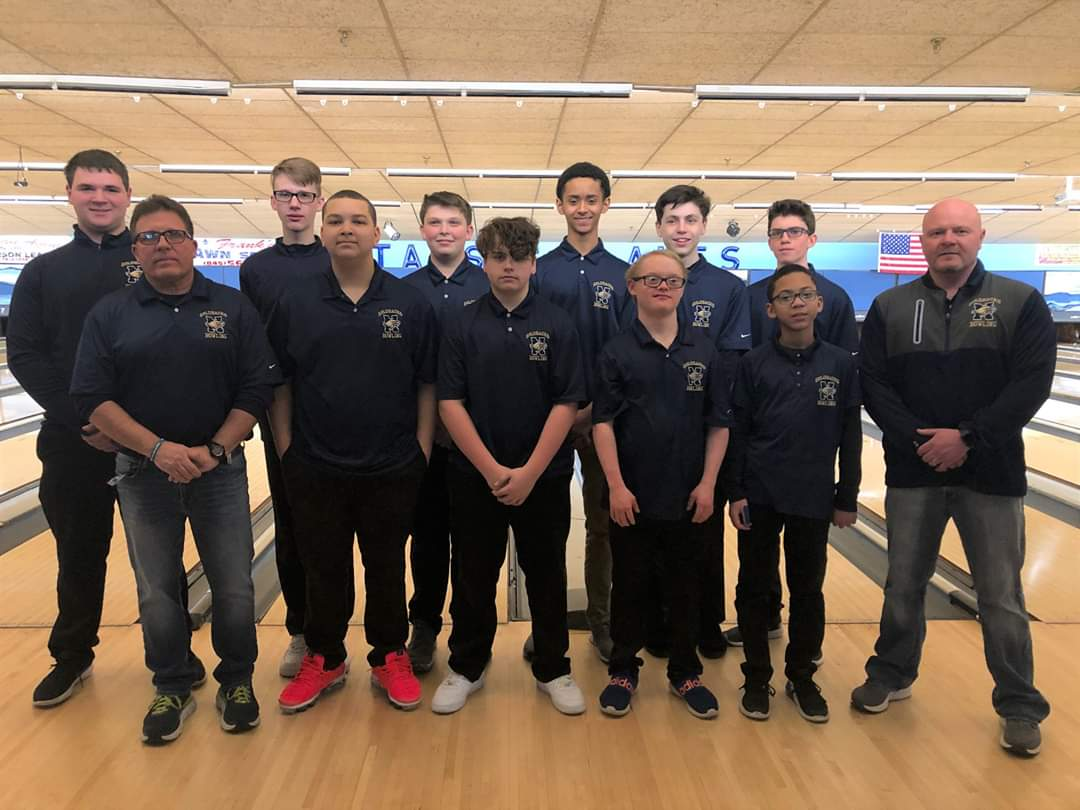 NFA Boys Bowling team poses for a picture.