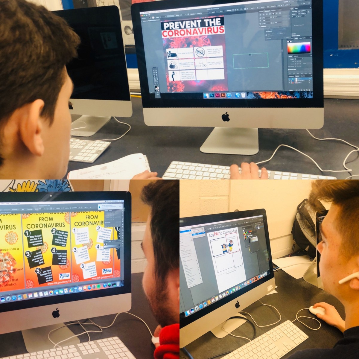 Collage of students working on the computer on their designs.