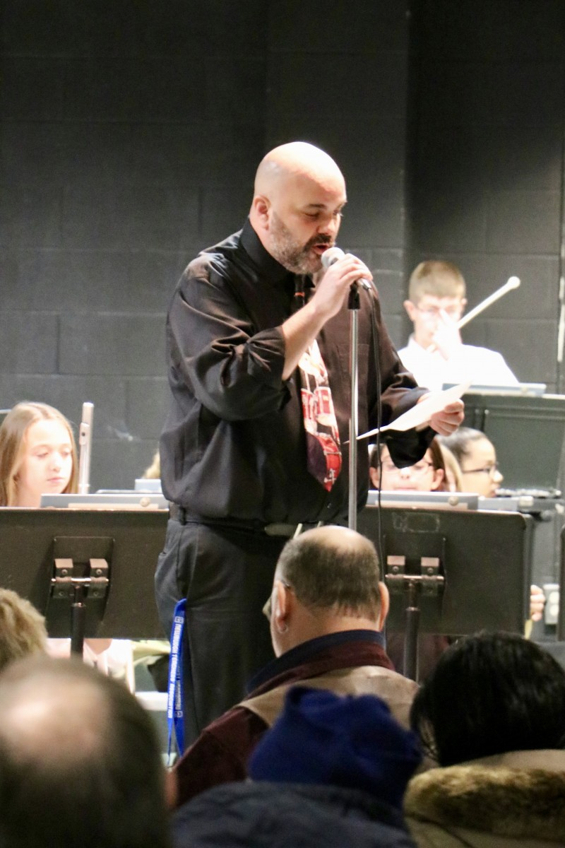 Band Director addresses audience
