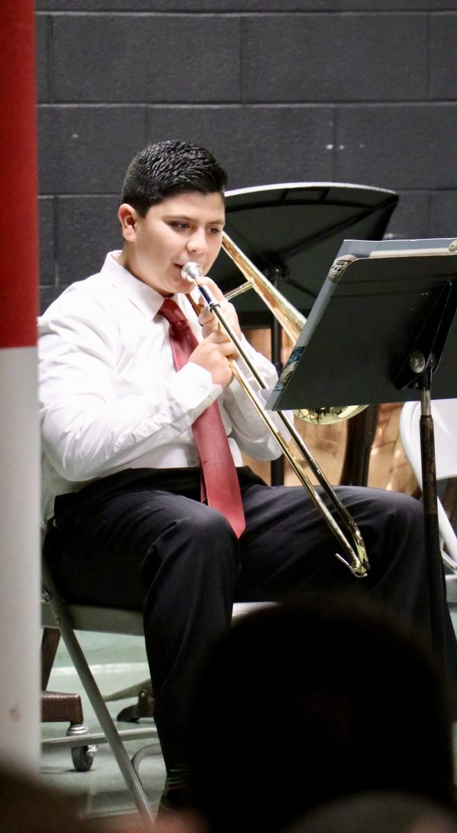 Student plays trombone