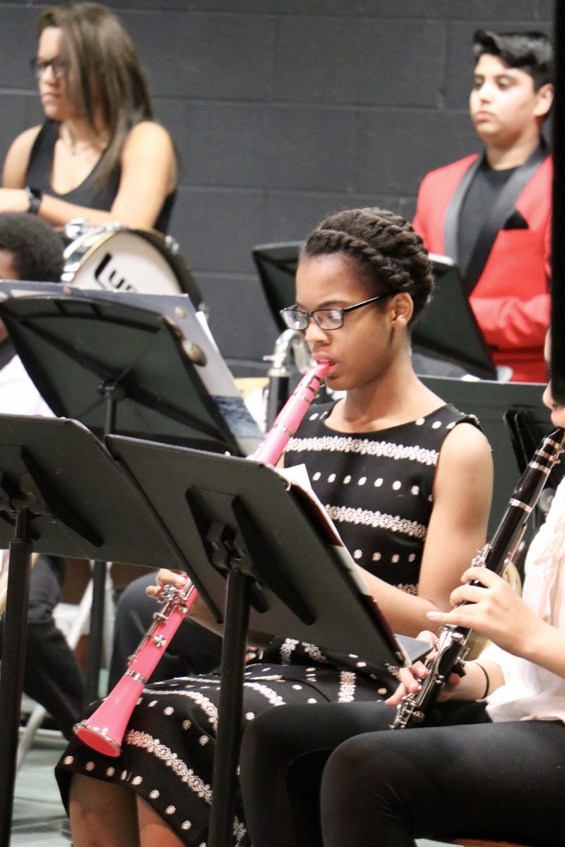 Student plays clarinet