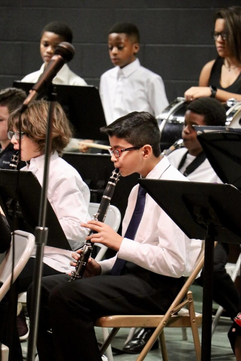 Student plays clarinet