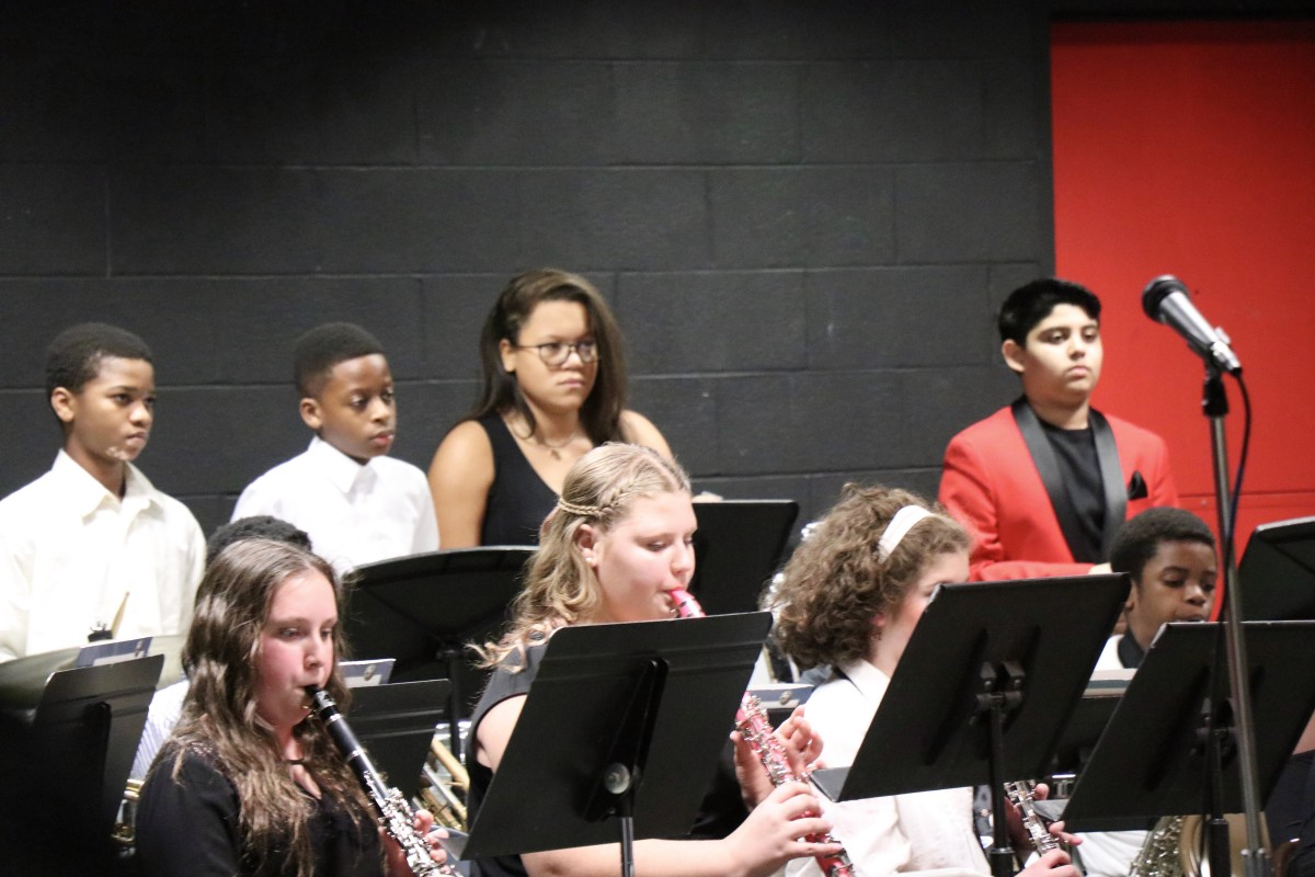 Students play in band