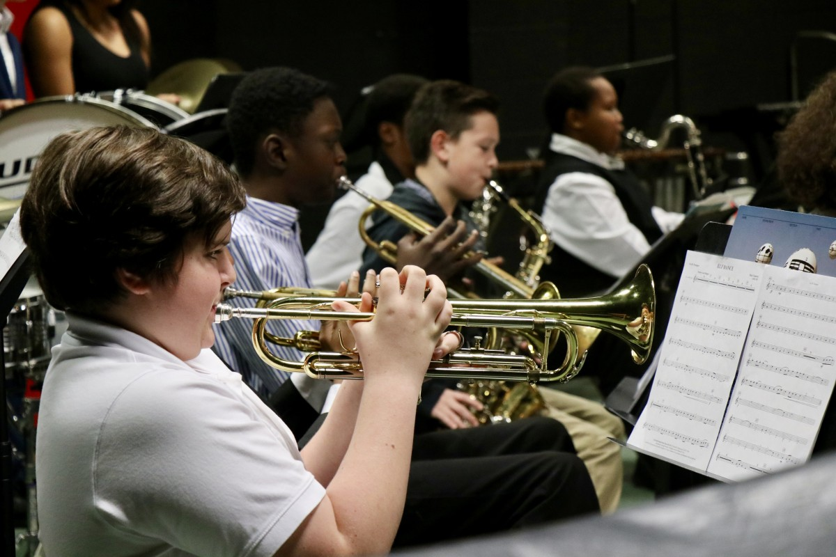 Student plays the trumpet