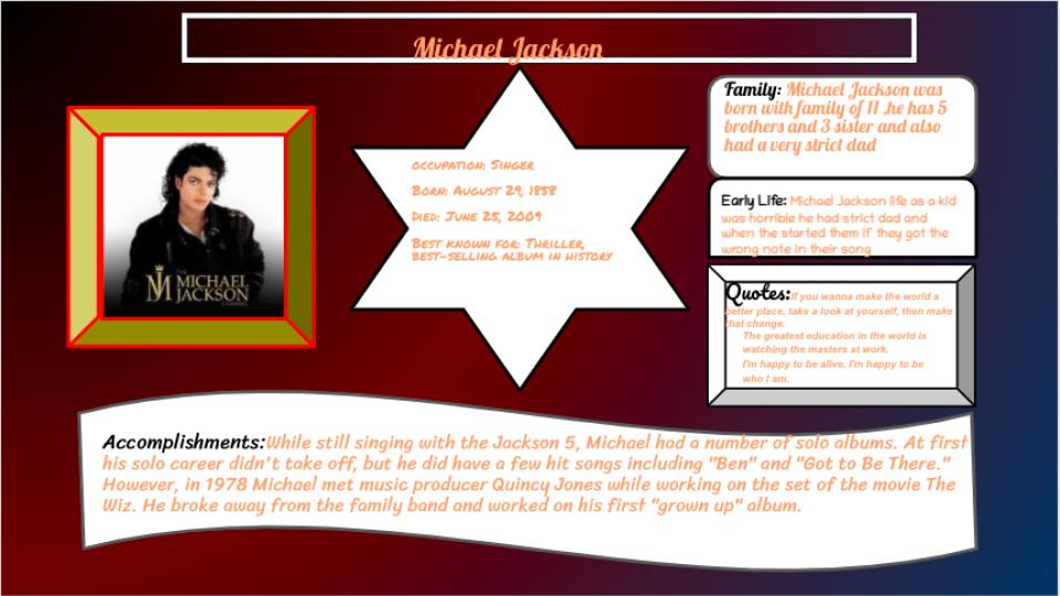 Student slide with biographical information on famous African American.