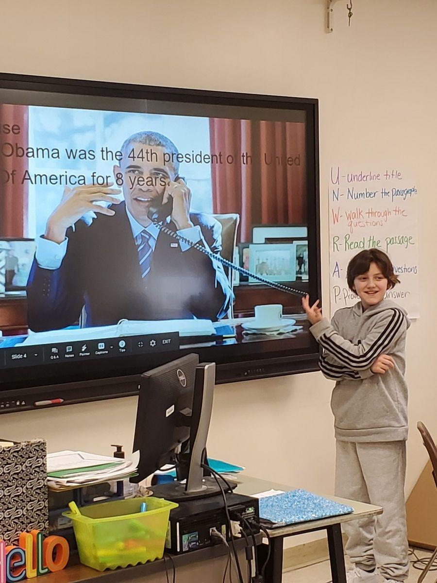 Student presenting their slide.
