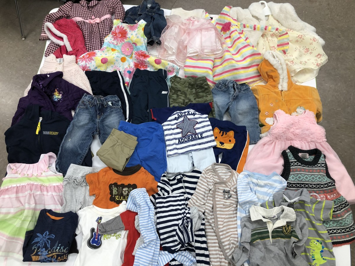 Donations of baby clothes.