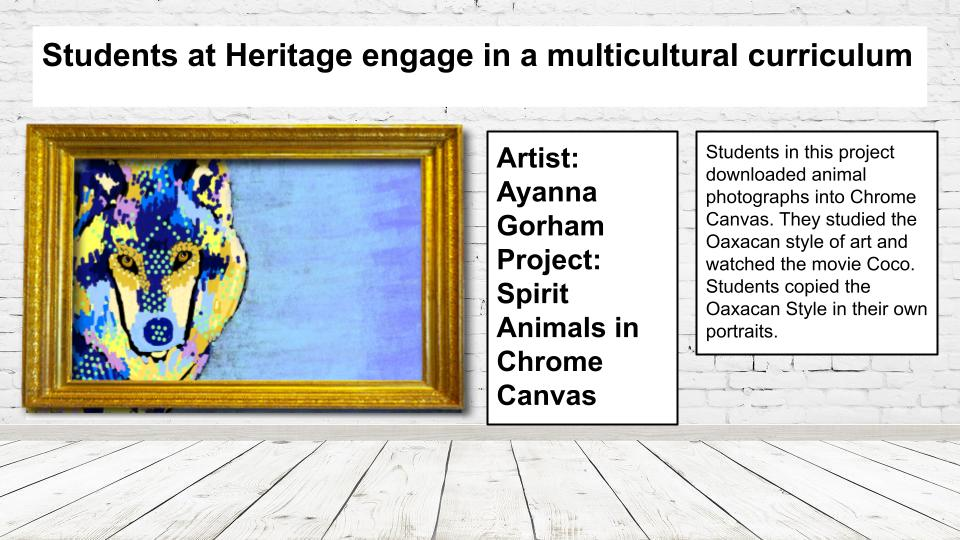 Slide highlighting virtual art show. Slide includes image of student work and description of the project. The link in story should provide written content.