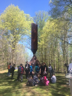 Students in Front of Sculpture 1
