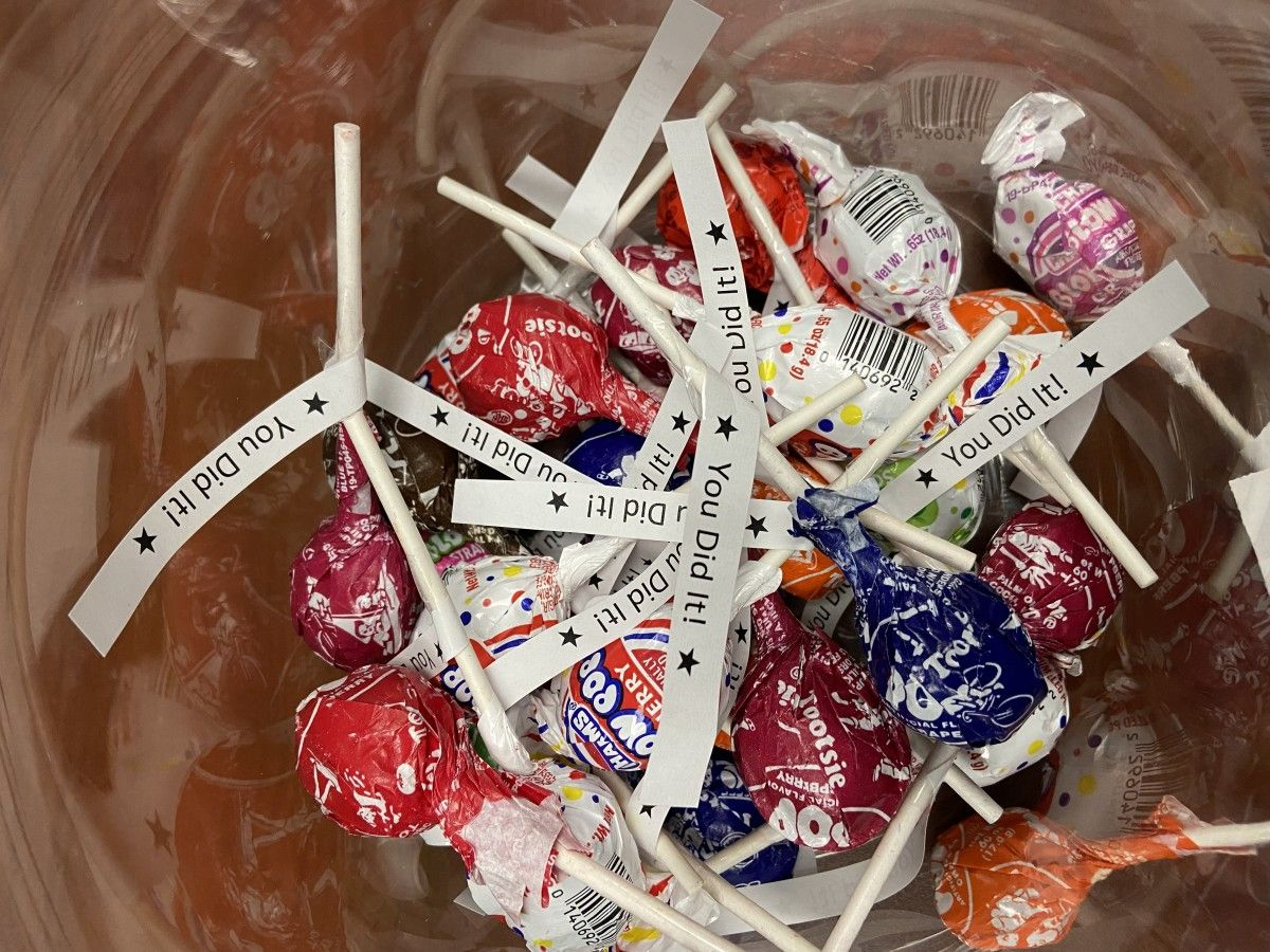A pile of lollipops for faculty/staff who have been COVID-19 tested.