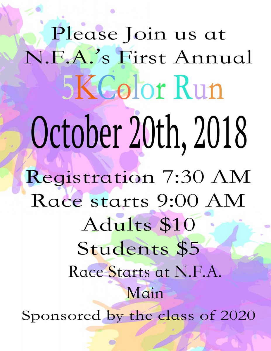 Thumbnail for NFA 5k Color Run - October 20th! Sign up here!